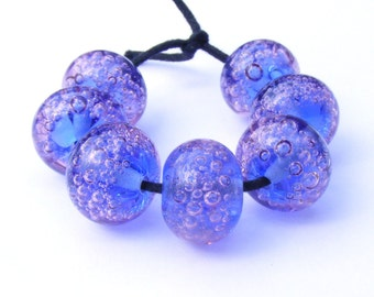 Handmade lampwork bead set - 7 pale mauve, blue and purple glass bubble beads