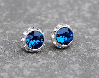 Capri Blue Diamond Rhinestone Stud Earrings Necklace Swarovski Crystal Blue Post Earrings Mashugana