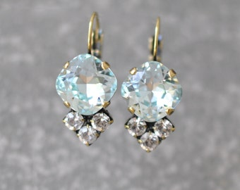Aquamarine Diamond Earrings Swarovski Crystal Icy Aqua Clear Crystal Diamond Rhinestone Tennis Style Leverback Lolita Mashugana