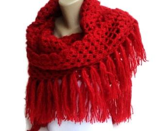 Red Crochet Shawl Scarf Winter Accessories Women Wrap Crochet Scarf Shawl Gift ideas Crocheted Shawl senoaccessory