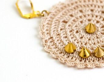 Earrings-Crochet Statement Earrings,Circle Earrings,Ivory Geometric Jewelry,Dangle Earrings