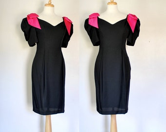 Black Party Dress / Vintage Dress / 80s Dress / 80s Glam Dress / 80s BodyCon / Sweetheart Dress