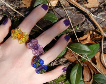 Sunshine Crystal ring - yellow + gold beads, Swarovski crystals, elf, fairy jewelry, beadweaving, crystal fairytale, statement, colourful