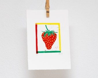Strawberry linocut, hand printed wall art, kitchen deco, summer fruit