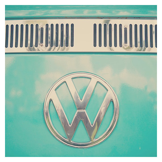vw bus photograph, mint, teal, color photography, travel photograph, volkswagen, wanderlust, adventure, nursery wall art, green, logo