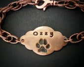 Personalized Custom Copper Dog or Cat Paw Print Bracelet