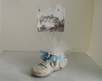 Shabby Chic Nursery Decor Altered Baby Shoe Picture Holder Blue