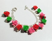 Rose Charm Bracelet, Christmas Gift, Flower Bracelet, Mom Sister Bridesmaid Jewelry Gift, Silver Red Pink Green, Cocktail
