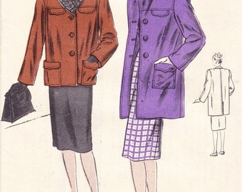 "Women's Box Coat Vintage 1940's Sewing Pattern Vogue 5559 Bust 32"" Notched Collar Pockets 2 Lengths"