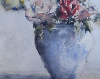 "Still life, floral, roses, blue, green,  coral, yellow. Chrisitines Roses- Original Watercolor Painting 12"" x 9""."