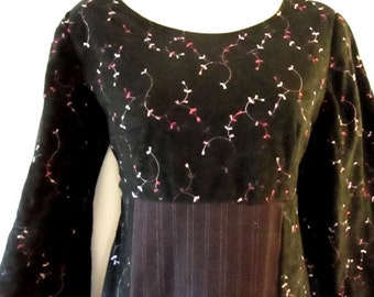 SALE Black Dress with Plum Pinstripes XS Purple Black