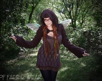 Plain Fleece 'Korrigan' Shrug -Concise Pixie hood/Sidhe sleeves