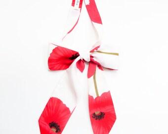 Artistic poppy flowers print  bow neckerchief