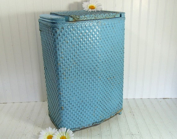 Vintage Turquoise Wicker & Wood Clothes Hamper By DivineOrders