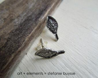 ARTisan Made Leaf Post Earrings - PMC - Sterling SIlver - OOAK