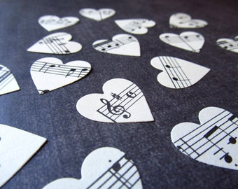 200 Vintage Sheet Music Handmade Die Cut Hearts, Party Decor, Confetti, Embellishments, Weddings