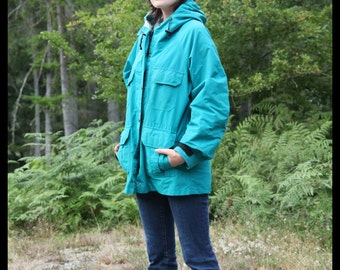 80s TEAL Rei Mountain Parka Hooded Rain Jacket TURQUOISE, Medium Unisex