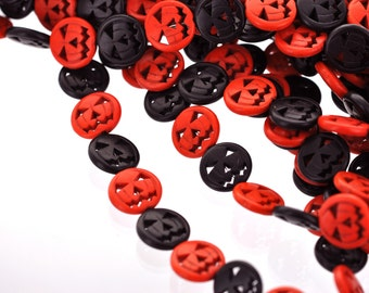 20mm BLACK and ORANGE Carved Jack O Lantern Beads, carved howlite stone, full strand, 21 beads, how0549