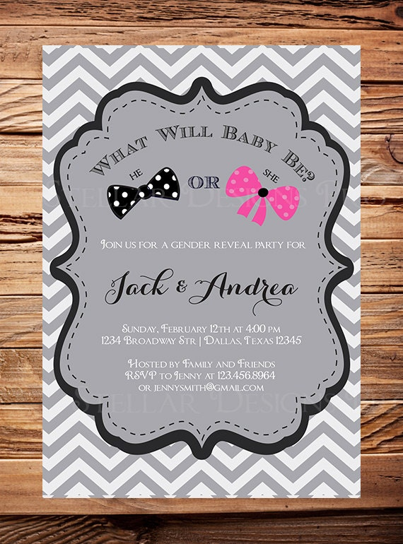items similar to gender reveal party invitation boy, bowtie or, Baby shower invitations