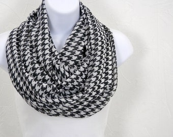 Houndstooth Black and White Drama Infinity Scarf Double Loop Scarf Handmade by Thimbledoodle