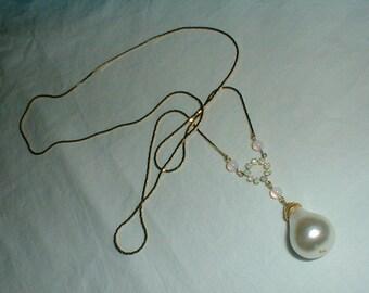 vintage opal glass crystals pearl drop festoon necklace