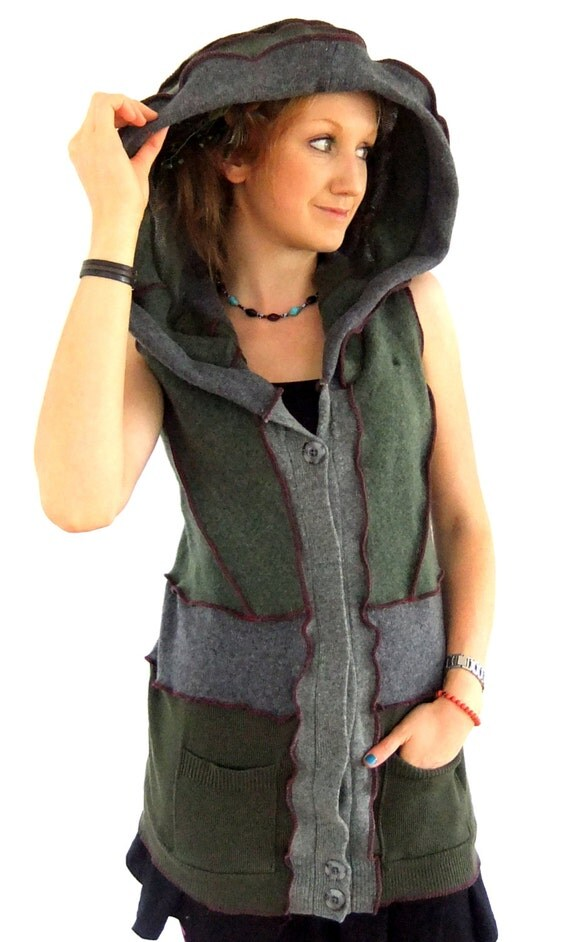 Earthy Vest Pixie Hoodie - Green Grey - Large XL  - Ready to SHIP