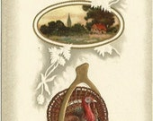 Antique Postcard Vintage Thanksgiving Greetings - Turkey - Autumn Country Cottage Scene - 1910 - Embossed