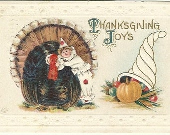 Turkey & Unique Clown Thanksgiving Joys Vintage Postcard Embossed Thanksgiving Greetings Autumn Cornucopia