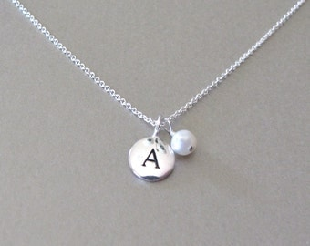 Silver Initial & Pearl Charm Necklace - Personalized