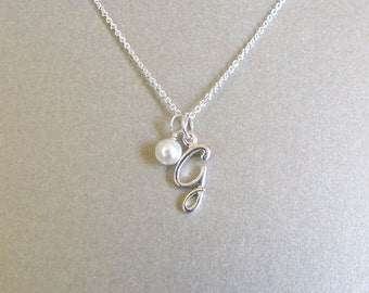 Silver Script Initial & Pearl Necklace
