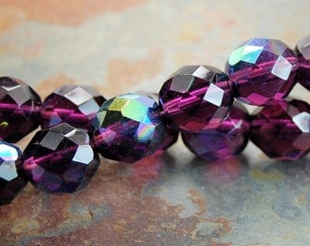 12mm Czech Beads Faceted  in AB Mulberry -8