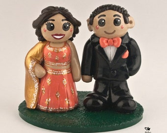 East Indian Bride and Groom Wedding Cake Topper Traditional
