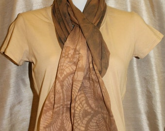 Mocha brown cotton jersey color removal tie dye scarf printed lacy shaded wrap stretchy