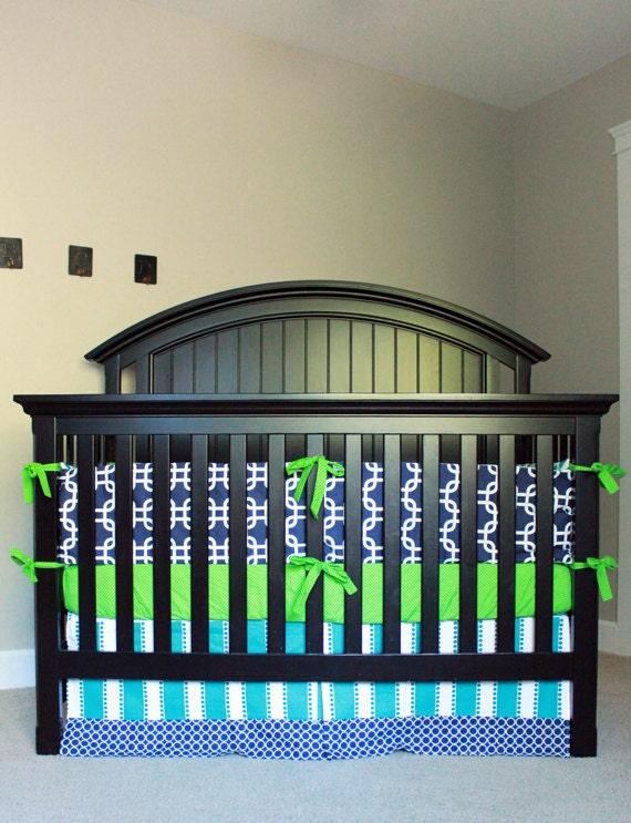 Boy nursery bedding navy blue green turquoise crib bedding - Navy blue and green bedding ...