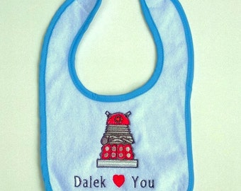 Dr. Who Dalek Hearts You Embroidered Baby Bib