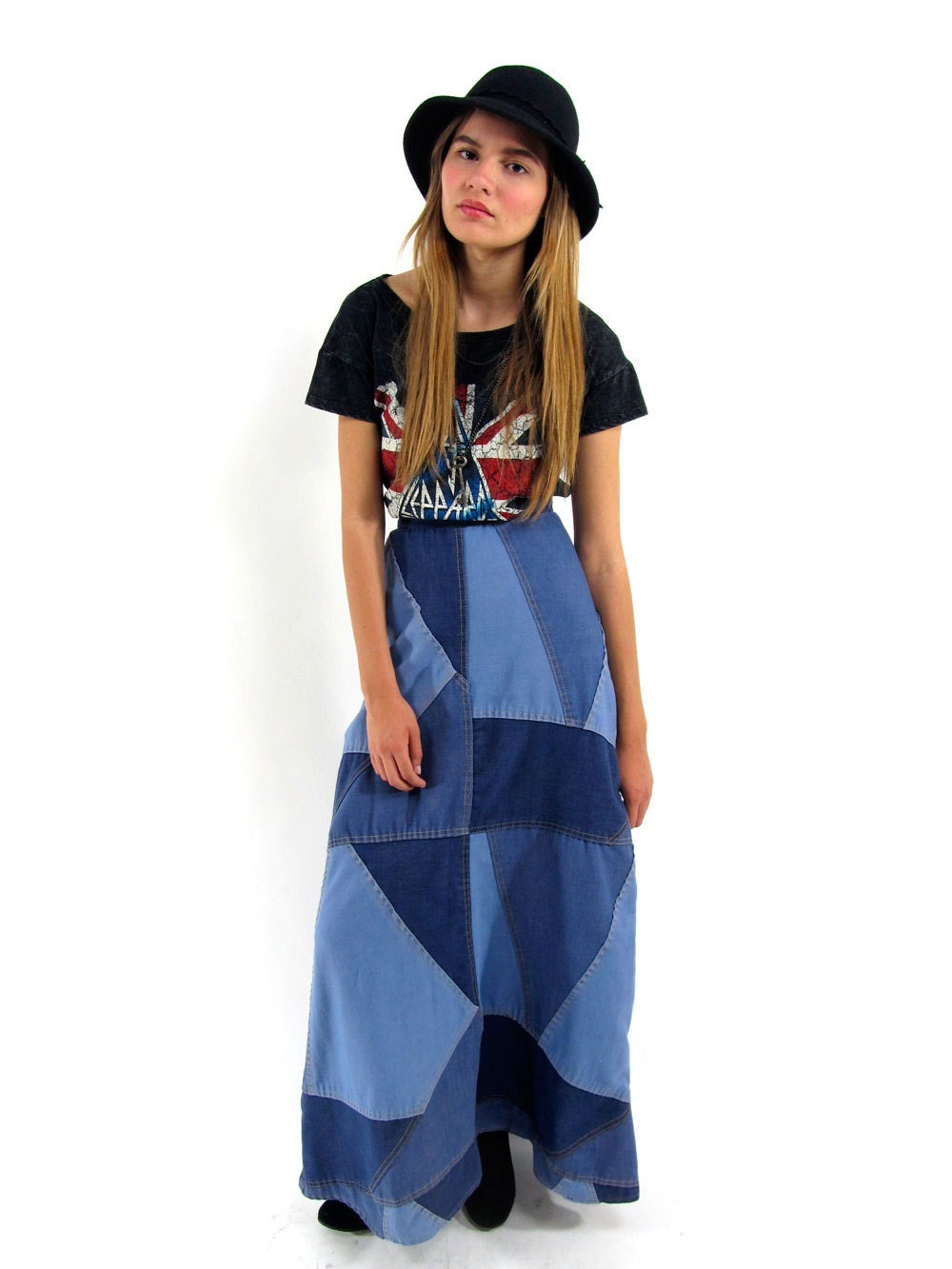 SALE Vintage 70s Patch-Work Denim Skirt High-Waist Maxi