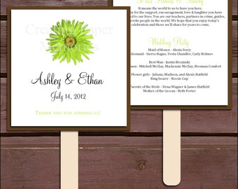 Lime Green Daisy Program Fans Kit - Printing Included. Wedding ceremony programs