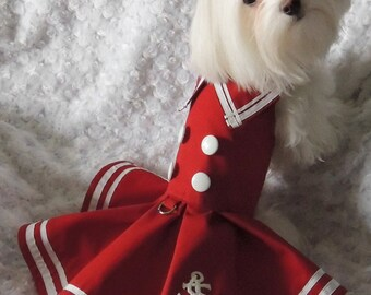 Couture Dog Dress, in Nautical Beauty