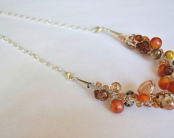 Hand Knitted Fine Silver Wire YUM YUM Bracelet Necklace Combo with Czech Glass and Orange lamp work glass beads