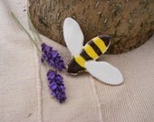 Ceramic bee brooch - yellow and black