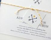 Adriana Wedding Invitation Sample / Nautical Wedding Invitations / Arrow Invitations / Heart Invitation / Simple Wedding Invitation