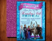 Disney Frozen Birthday Digital Invitation Includes Customized Front and Glitter Look Back Side See How to RECEIVE 20.00 PRINT credit