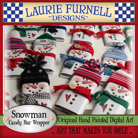 Snowman Candy Bar Wrapper Laurie Furnell printables holiday