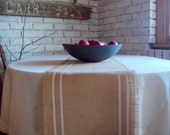 French Country Style Burlap Table Runner 12  x 84 - 14 x 84 - 16 x 84 with Hand Painted Double Stripes - Grain Sack Table Runner