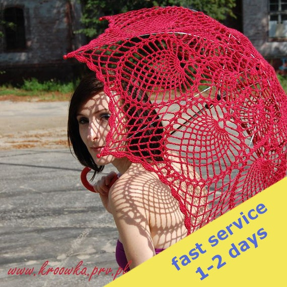Sale 10 BUCKS OFF, Crochet parasol, rose red umbrella, victorian style, for modern lady or young sexy girl, wedding parasol READY to Ship