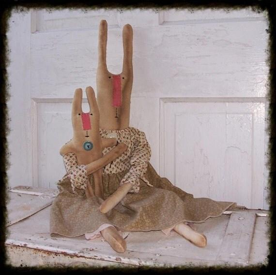 HOLD SOLD Kristie PumpkinJoy Primitive Folk Art Raggedy Raggedy Bunny Dolls Bonnie & Bev Prims*Gone*Wild