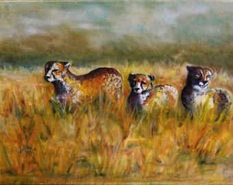 "1 ""cheetah Walk"" original framed oil by Julie Nestor"