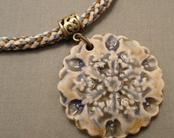 Ceramic Snowflake Pendant and Silk Kumihimo Necklace