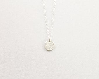 Tiny silver necklace - simple necklace, solid silver disc necklace, tiny sterling silver charm necklace, silver hammered tiny disc necklace
