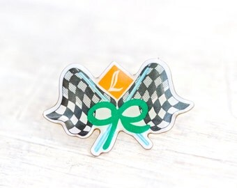 Ready Steady Go - Car Racing Flags Badge - Chequered black and white Flag